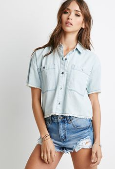 Frayed Chambray Shirt | Forever 21 | #thelatest