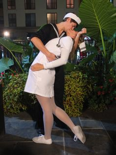 V-J Day nurse and sailor kissing. Couples costume for Halloween