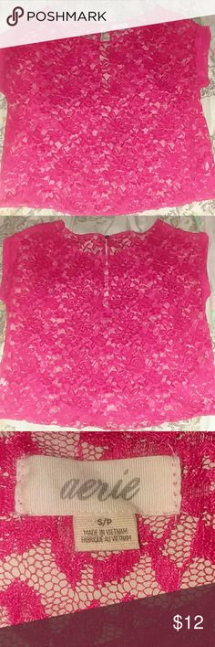 Cute Lace top Super cute lace top ,small opening in the back ,excellent condition, no rips or stains  size is small but it fits a medium as well aerie Tops Crop Tops