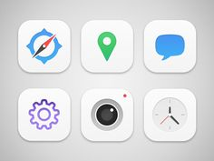 iOS Icons designed by Dale Humphries. Connect with them on Dribbble; Flat Design Icons, App Icon Design, Ui Design Inspiration, App Ui Design, Flat Icons, Interface Design, Iphone 5c, School Magazine Ideas, Ios 7 Icons