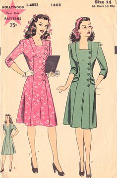 1940s Misses Princess Seam Dress Vintage Sewing Pattern, Hollywood 1408 bust 32""