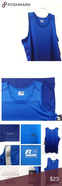 New Russell Athletic Gym 💪🏻 Royal Blue Tank Top NWT Royal Cobalt Blue (ombré) Active Tank Top / Muscle Training Fit Type. Dri Power 360 technology material, perfect for the athletic guy for a Christmas holiday gift! • Very light and comfortable, great for hot days weekends, running, gym, sports, workout, biking, , pool, vacations! • NEW w/ tags racer tee, size L (42-44 chest) • smoke & cat free home • God bless & happy poshing! Russell Athletic Shirts Tank Tops