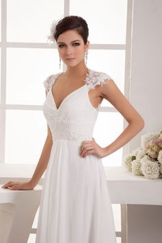 A-line Chiffon Lace V-Neck Empire Floor-Length Full Back Cap sleeve Beading Ruching Sequins White wedding dress