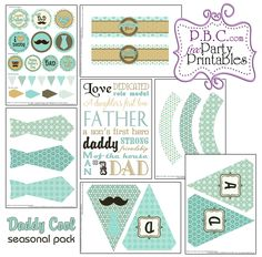DADDY COOL SEASONAL PACK Father And Son, Fathers Day, Party Printables, Party Time, First Love, Daddy, Packing, Party Ideas, Seasons