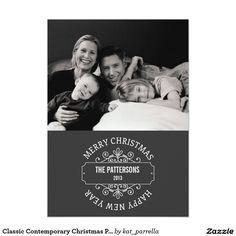 Classic Contemporary Christmas Photo Card   Gray