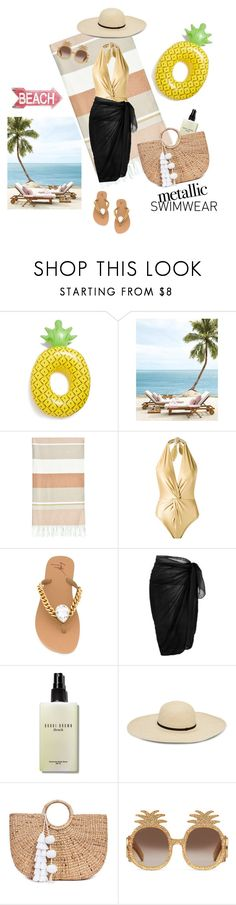 """""""You're Golden: Metallic Swimwear"""" by dragonfly-lt ❤ liked on Polyvore featuring BigMouth, Linum Home Textiles, Martha Medeiros, Giuseppe Zanotti, Bobbi Brown Cosmetics, JADE TRIBE and Gucci"""