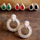 Cz Studded Round Changeable Stones Hoop Earrings Fashion With Contemporary Look Fashion Bollywood Wear