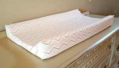 Pink / White &Gold Chevron Changing Pad Cover/ Girl Changing Pad cover/Baby Shower Gift