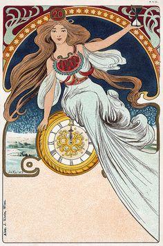A 1900 art nouveau New Year's postcard.