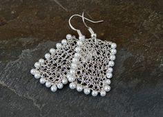 Handmade wire crochet earrings by ByDrora Handmade Wire, Earrings Handmade, Handmade Jewelry, Wire Wrapped Jewelry, Wire Jewelry, Beaded Jewelry, Jewellery, Wire Earrings, Crochet Earrings