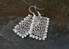 Bright silver earrings.Handmade wire crochet earrings by ByDrora