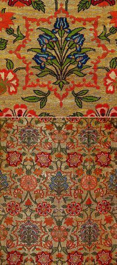 Antique Persian Textile. Silk Brocade with Gold thread  Safavi Dynasty  1501-1722 A.D Circa 1650