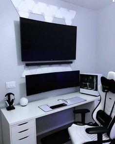 Best Gaming Setup, Gaming Room Setup, Pc Setup, Computer Gaming Room, Computer Desk Setup, Gaming Rooms, Home Office Setup, Office Workspace, Bedroom Setup