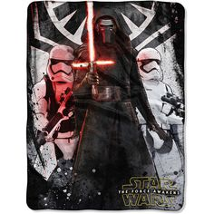 Star Wars The Force Awakens First Order Throw ($40) ❤ liked on Polyvore featuring home, bed & bath, bedding, blankets, star wars blanket, star wars bedding, woven throw blanket, polyester throw and woven throw