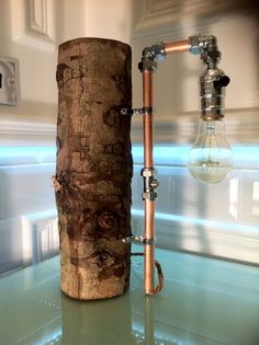 Bespoke Modern Rustic Chrome Copper Real Wooden LOG Lamp with Vintage Retro  Bulb