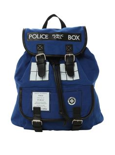 Blue slouch backpack from Doctor Who with TARDIS design. Snap button and drawstring closure.
