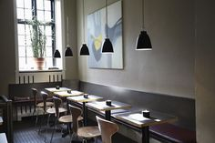 RS28 Café in Aarhus, Denmark with Lightyears Caravaggio Matt Black pendants.