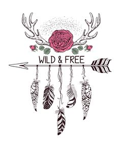 Hand drawn boho style design with rose flower, arrow and deer antlers. Cute Wallpapers, Wallpaper Backgrounds, Iphone Wallpaper, Arte Equina, Dream Catcher Art, Arrow Tattoos, Tatoos, Wild And Free, Native American Art