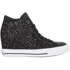 Converse Women 80mm All Star Mid Lux Glittered Sneakers ($160) ❤ liked on Polyvore featuring shoes, sneakers, black, black glitter sneakers, black glitter shoes, wedge sneakers, platform wedge sneakers and black wedge shoes