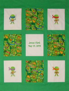 Embroidered Ninja Turtles Baby Quilt   Personalized by NEFSewSuite, $110.00