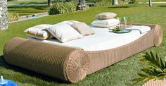 This is so summer 2012 Rattan Sofa, Rattan Furniture, Cool Furniture, Outdoor Furniture Sets, Sofa Daybed, Small Daybed, Living Room Decor Curtains, Outdoor Daybed, Patio Kitchen