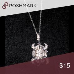 """Crystal Embedded Sea Turtle Necklace Bling sea turtle pendant necklace is so cute! Approx 1.5"""" in length. All stones are present and accounted for. Jewelry Necklaces"""