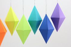 Geometric Paper Gem Ornaments Dipyramid Neon by 1PixiePlace