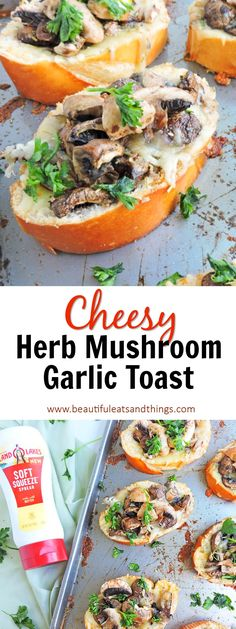 Cheesy Herb Mushroom Garlic Toast is the perfect appetizer, snack, or meal… - Appetizers Easy Appetizer Recipes, Best Appetizers, Easy Healthy Recipes, Healthy Cooking, Cooking Recipes, Delicious Recipes, Cooking Ideas, Healthy Life, Vegan Recipes