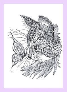 Cat doodle - coloring pages