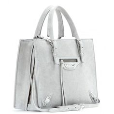 Balenciaga Mini Papier A4 Zip-Around Suede Shoulder Bag (€1.240) ❤ liked on Polyvore featuring bags, handbags, shoulder bags, balenciaga, grey suede handbag, grey shoulder bag, gray shoulder bag, suede shoulder bag and gray handbags