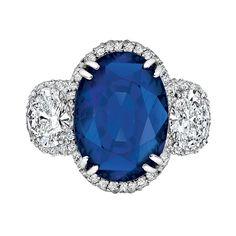 Burmese Sapphire Oval Diamond Ring