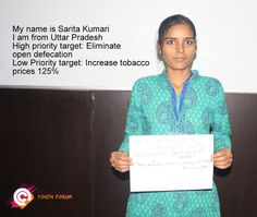 Sarita recently participated in a post-2015 youth forum in India. Afterwards she chose 'eliminate open defecation' as her top priority for the post-2015 development agenda. Her low priority target is 'increase tobacco prices by 125%.'