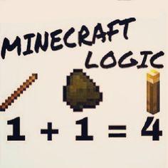 Minecraft Logic!! Haha soo true even with wood: 1 Wood Block=4 Wood Plank Blocks.