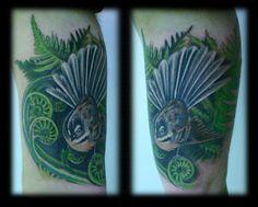 Custom Kiwiana New Zealand Fern Frond and Fantail Full Color Realism Inner Arm Tattoo Design_tattoo gallery