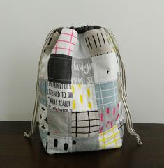 I just wanted to pop in real quick and let you know I listed a few Patchwork Drawstring Bag kits in my ets. Drawstring Bag Pattern, Drawstring Backpack, Diy Bags Purses, Yarn Bag, Diy Handbag, Patchwork Bags, Knitted Bags, Bago, Cotton Bag