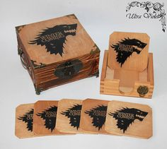 Exclusive tea box, tea,  tea bag,  box, wood,Game of Thrones,Stark, Winter is coming by ultroviolet. Explore more products on http://ultroviolet.etsy.com