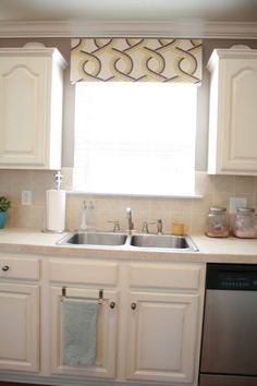 kitchen window curtain/blinds idea. awning to cover raised blinds
