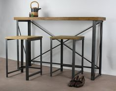 Reclaimed Industrial Chic Seater Tall Poseur Table - Bar Cafe Office Restaurant Furniture Steel Solid Wood Metal Made to Measure 143 Diy Furniture To Sell, Furniture Ideas, Breakfast Bar Table, Breakfast Cafe, Corner Sink Kitchen, Kitchen Storage, Rustic Stools, Booth Seating, Restaurant Furniture