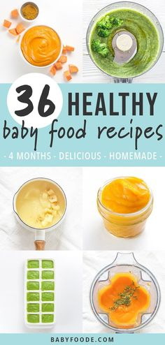 These 36 Healthy + Homemade Baby Food Recipes are beyond delicious purees that are great for baby's first bite! Freezer-Friendly! Baby food 4 months and up! Avocado Baby Food, Banana Baby Food, Healthy Baby Food, Food Baby, Baby Food Guide, Baby Food Recipes Stage 1, Baby Food Schedule, Baby Puree Recipes, Pureed Food Recipes