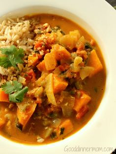 African Peanut Stew, is a delicious stew combining peanut butter, yams, tomatoes and curry powder for a hearty and earthy meal. What seems like an odd combination is actually perfect comfort food.