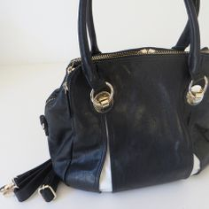 Georgette Handbag - Black with White - French Pear Gifts