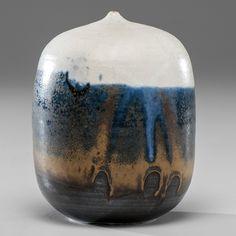 Toshiko Takaezu (1922-2011; USA) Closed Form ca 1990 Porcelain; ht. 6, dia. 4.25 Artist incised signature on base.