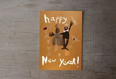 new years eve card   christmass card set   illustrated card  