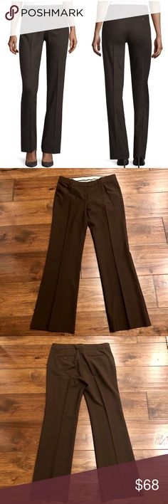 """Theory Max C Brown (Armadillo) Trousers Slant pockets  Hook and eye closure Back besom pockets Lightweight stretch wool Wide leg trouser cut   Waist: 16"""" Inseam: 30.5""""  Excellent condition.  All of my items come from a smoke-free, pet-free home. I ship daily. Enjoy! Theory Pants Trousers"""