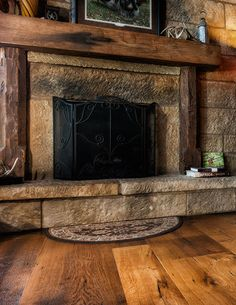 old stone fireplaces with barn beam over it - Google Search