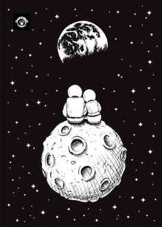 Vector cartoon of astronaut couple on the moon printed on metal poster. Vector cartoon of astronaut couple on the moon printed on metal poster. Wallpaper Space, Galaxy Wallpaper, Space Drawings, Easy Drawings, Forest Poster, Astronaut Drawing, Astronaut Cartoon, Doodle Design, Moon Cartoon