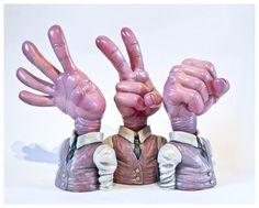 Rock paper scissors quot resin art multiple quot pink quot edition from emilio
