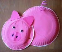 pink plated pig ... craft activity, could do various animal friends of Peppa too