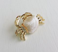 Vintage Crab Brooch, Crab Shell Pin, Gold Rhinestone Hermit Crab Jewelry, Crustacean Pin,Dainty Figural Pin, Costume Estate Jewelry by ninthstreetvintage on Etsy