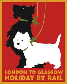 SCOTTIE-WESTIE-SCOTTISH-TERRIER-WEST-HIGHLAND-WHITE-DOG-ART-PRINT-Retro-Poster